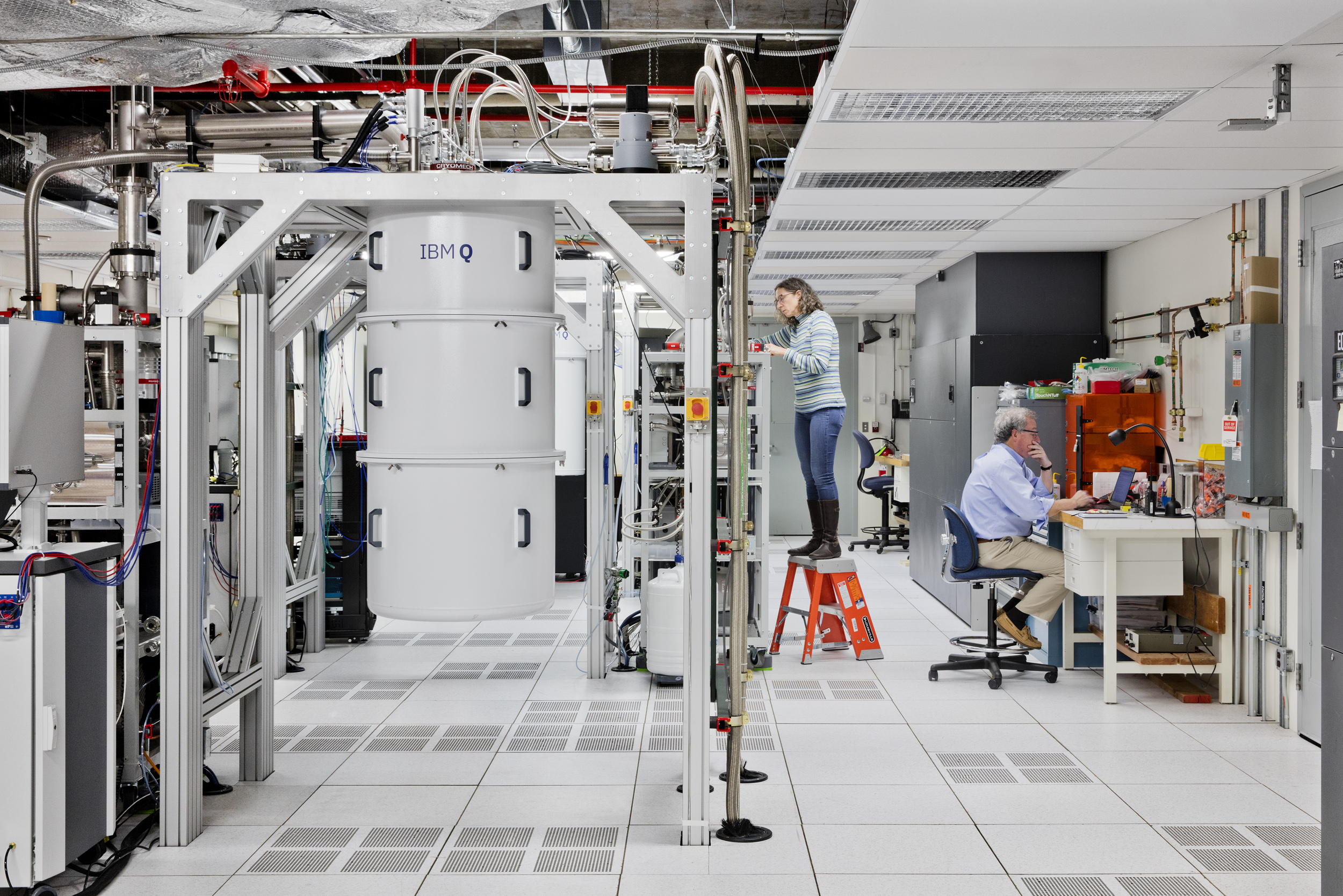 Person tending to IBM Q machine